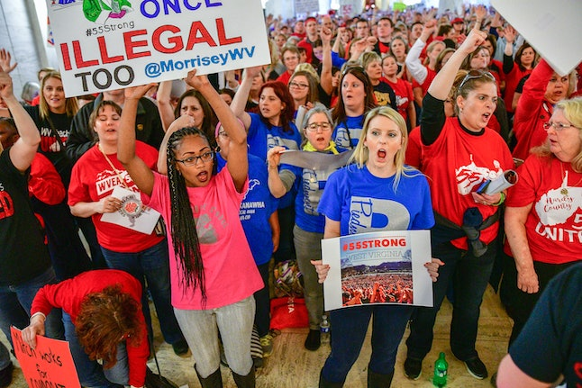 Teachers hold a rally outside the Senate Chambers in the West Virginia Capitol on March. 5 in Charleston, W.V.
