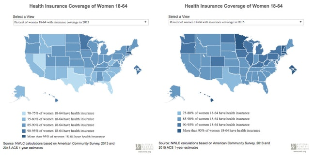 The NWLC's interactive maps show the increase in the percentage of women aged 18-64 with health insurance from 2013 to 2015.