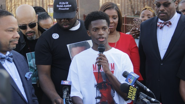 Christ the King high school student Malcolm Xavier Combs speaks during a press conference in Queens, New York, on Feb. 21.