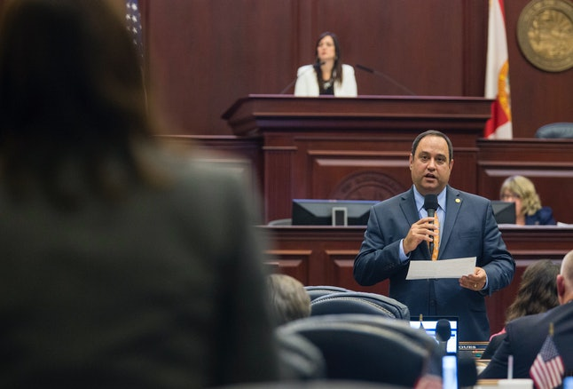 Rep. Ray Rodrigues, R-Estero, answers questions on medical marijuana bill, HB 1397, on the floor at the Florida Capitol, Friday May 5, 2017, in Tallahassee, Fla.