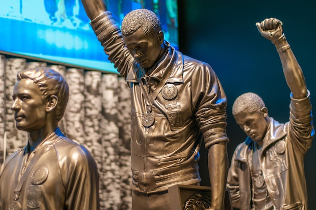 A sculpture commemorating the Black Power salute at the 1968 Olympics in Mexico City is one of the many treasures you'll find at the museum.