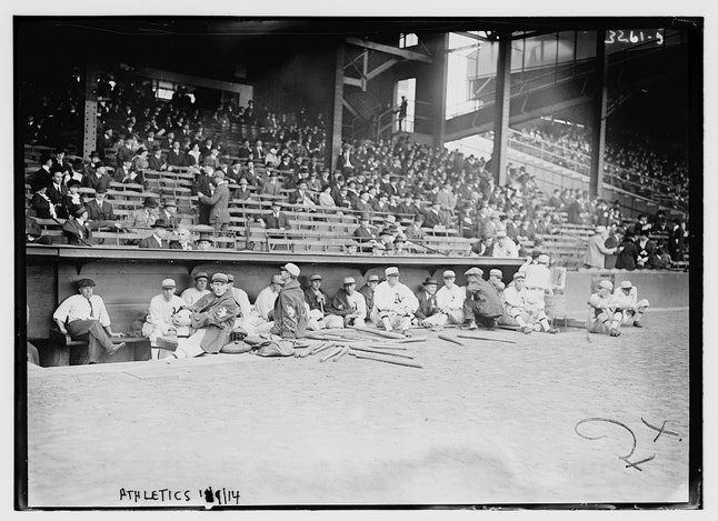 The A's dugout prior to the start of Game 1