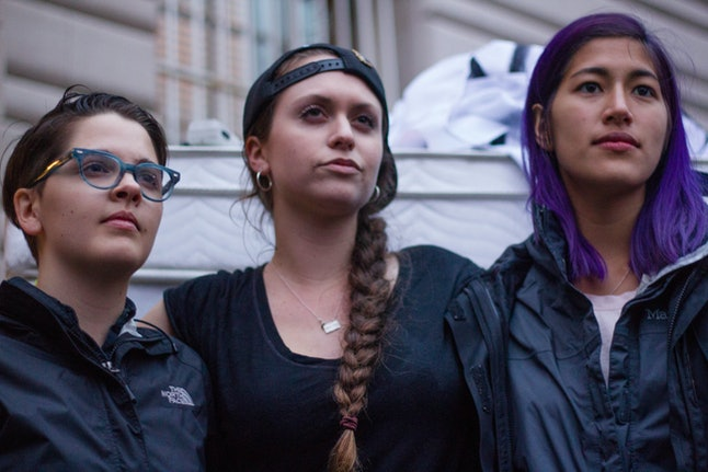 Activists Allie Rickard, Zoe Ridolfi-Starr and Emma Sulkowicz at the Carry That Weight National Day of Action