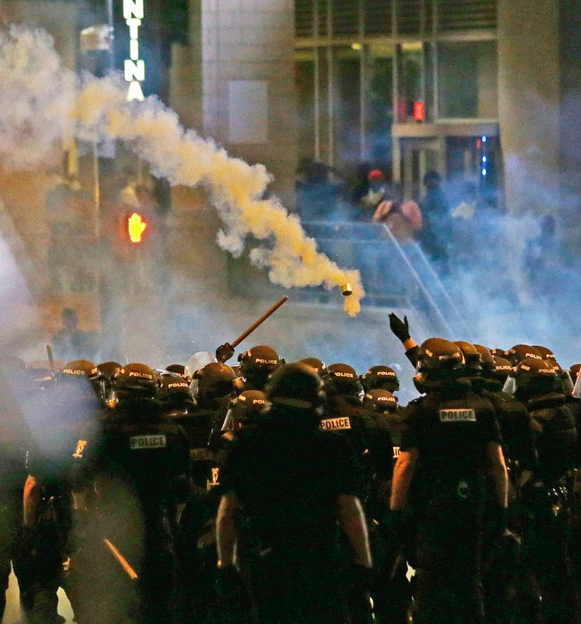 Police fire tear gas at protesters in Charlotte, North Carolina.