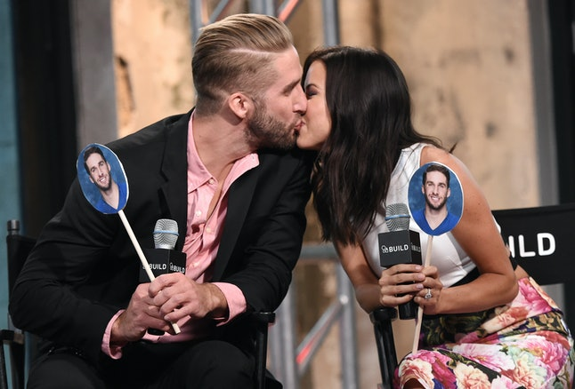 Kaitlyn Bristowe and Shawn Booth attend an AOL Build event.
