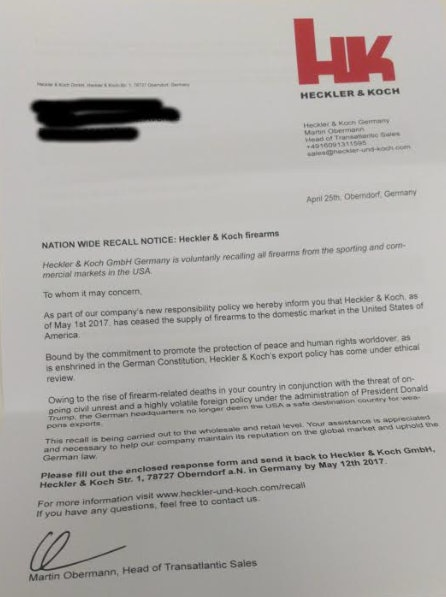 The bogus recall notice sent to hundreds of Heckler & Koch's U.S. vendors.