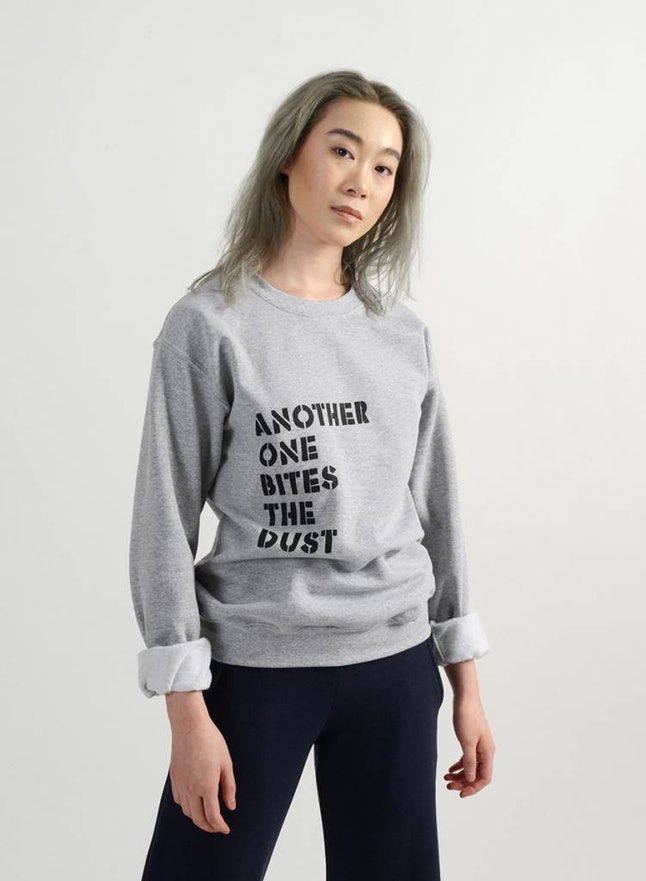 "The ""Another one bites the dust"" sweatshirt"