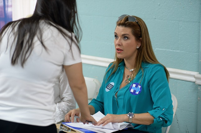 Former Miss Universe Alicia Machado is campaigning for Hillary Clinton.
