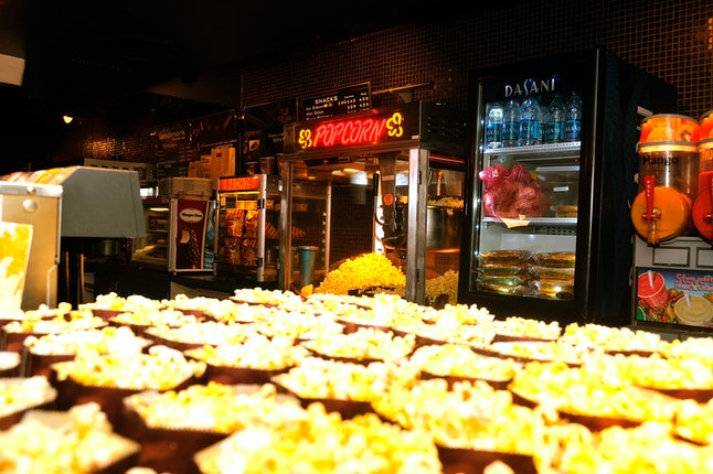 A view of the consession stand serving free soft drinks and popcorn at Landmark Sunshine Theater on Oct. 21, 2010 in New York City.