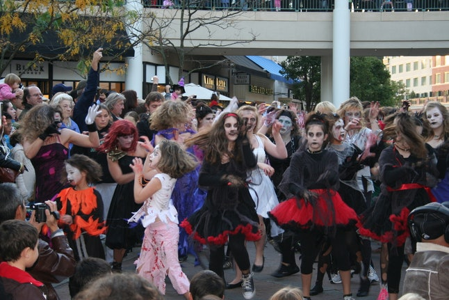 """Zombies"" take part in a flash mob in Redmond, Washington."