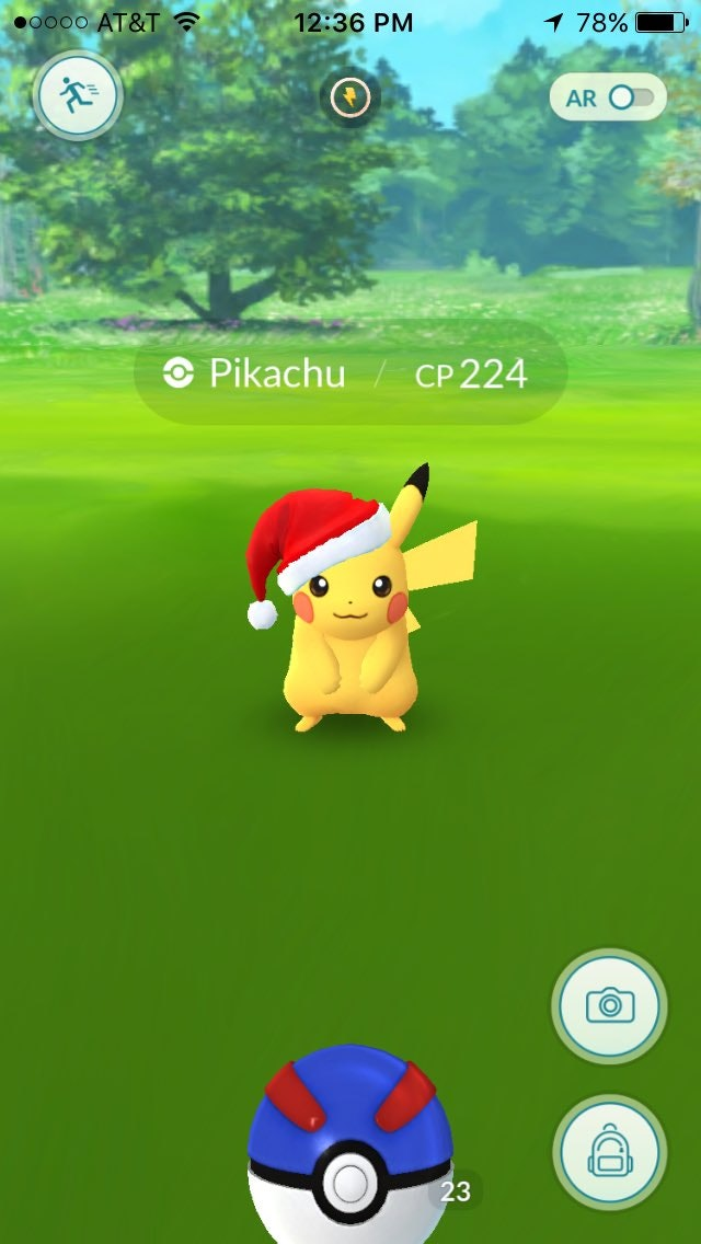 Every Pikachu currently spawning in Pokemon Go is wearing a Christmas hat. How adorable, huh?