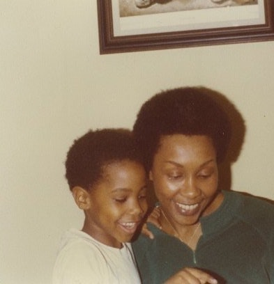 W. Kamau Bell and his mother, circa 1979