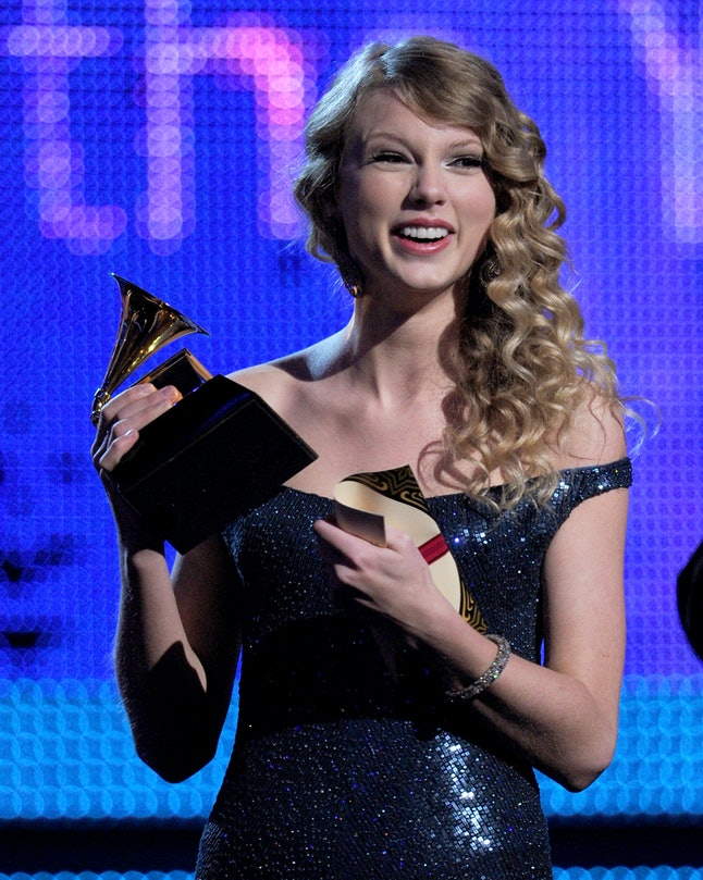 Singer Taylor Swift accepts the album of the year award onstage during the 52nd annual Grammy Awards, at the Staples Center on Jan. 31, 2010 in Los Angeles.