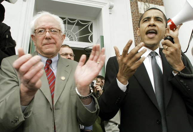 Then-Sen. Barack Obama (D-Ill.) speaks at a Burlington, Vermont rally for Sanders' 2006 Senate campaign.