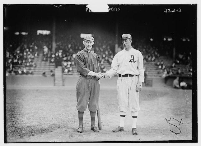 Boston's Johnny Evers and Philadelphia's Eddie Plank