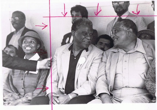 Harold Washington, center, was the first black mayor of Chicago and served the city from 1983 to 1987.