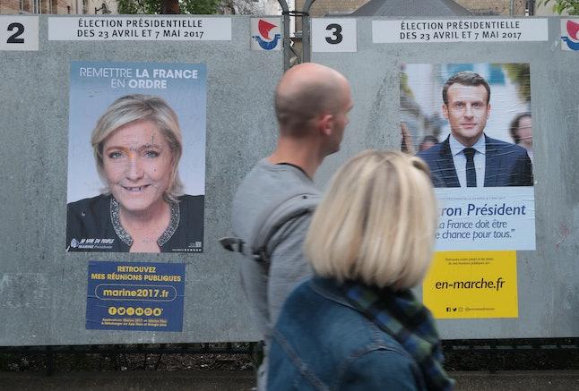 Le Pen is battling centrist Emmanuel Macron with voting just days away.
