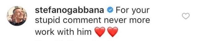 Gabbana's comment to Cyrus