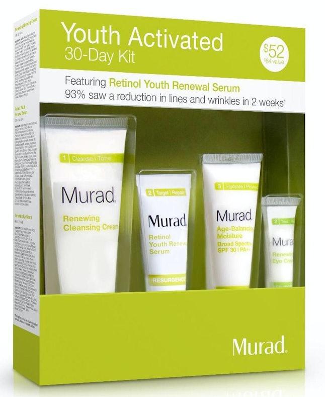 Included in set: Renewing Cleansing Cream, Retinol Youth Renewal Serum, Age-Balancing Moisture Broad Spectrum SPF 30 and Renewing Eye Cream