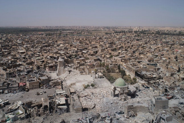Aerial view of the destroyed landmark al-Nuri mosque in the Old City of Mosul, Iraq