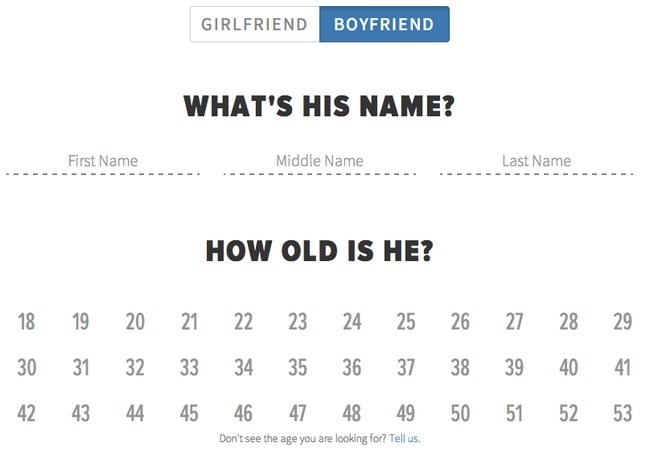 Choose your BF's name and age!
