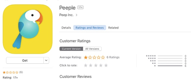 Peeple's iTunes store review page