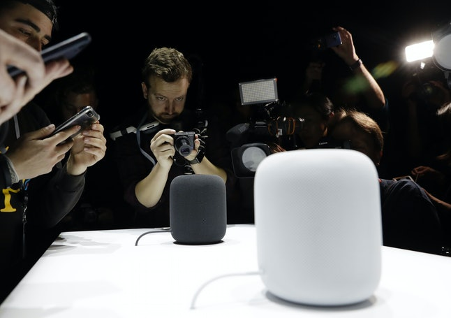 The HomePod speaker is photographed in a a showroom during an announcement of new products at the Apple Worldwide Developers Conference Monday in San Jose , Calif.
