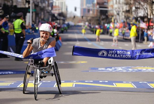 Manuela Schar crosses the finish line at the 2017 Boston Marathon.