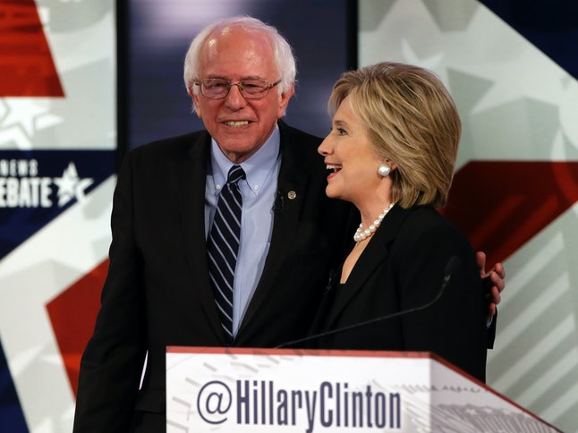 Bernie Sanders and Hillary Clinton at the second Democratic primary debate in Iowa.