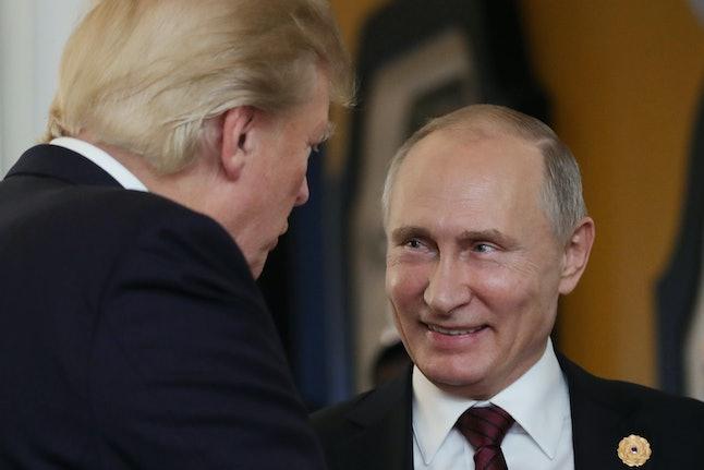 President Donald Trump speaks with Russian President Vladimir Putin in 2017.