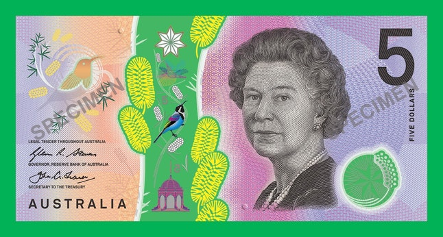 A close-up of the Australian $5 note shows two raised dots.