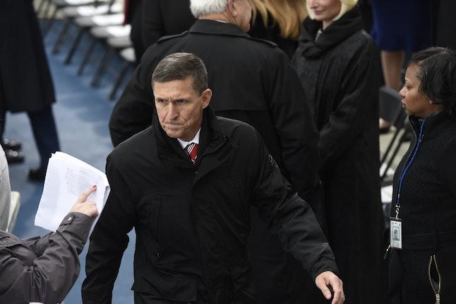 Michael Flynn arrives at Donald Trump's inauguration Jan. 20.