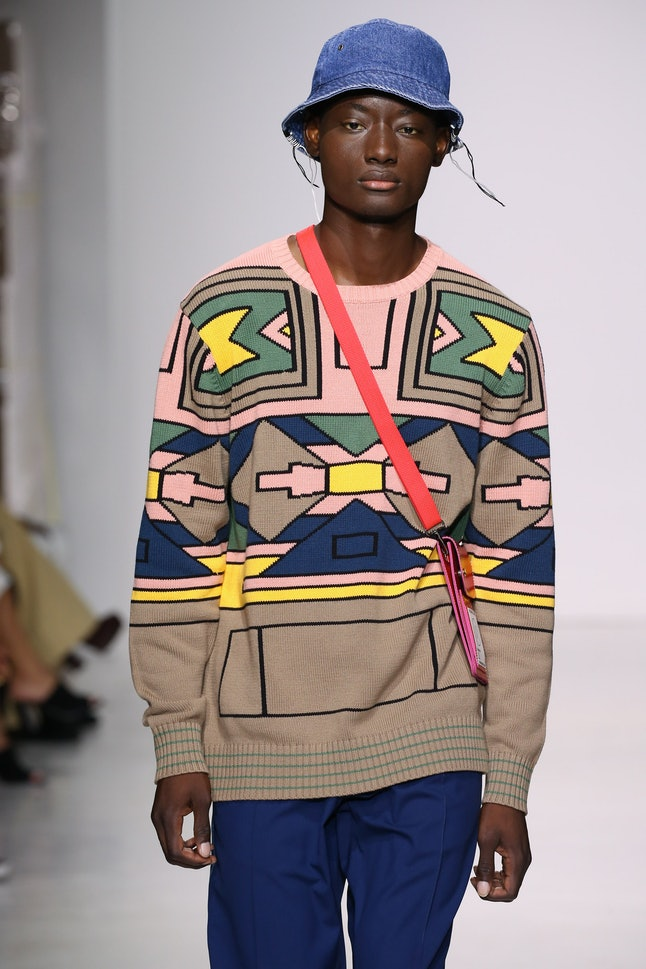 A model at the Ovadia & Sons show at NYFW: Men's