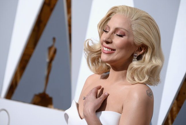 Lady Gaga laughing at something you could never understand.