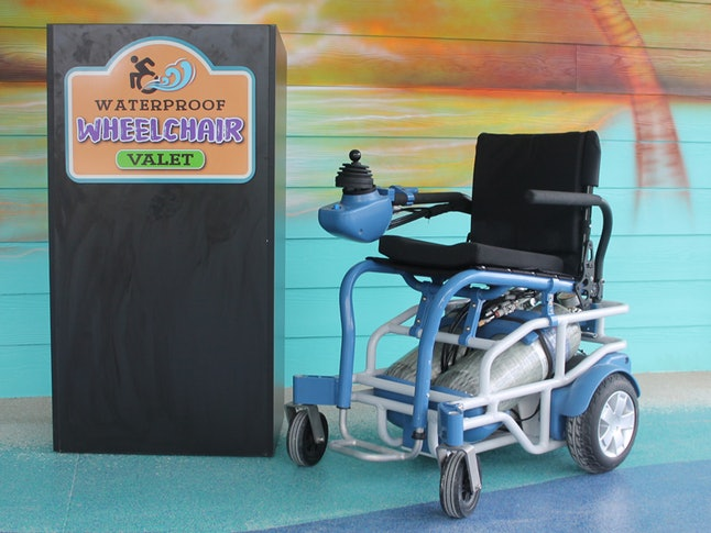 The waterproof wheelchair is free to rent.