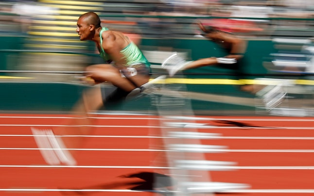 Ashton Eaton competes during the decathlon 110-meter hurdles at the U.S. Olympic Track and Field Trials, Sunday, July 3, 2016, in Eugene, Oregon.