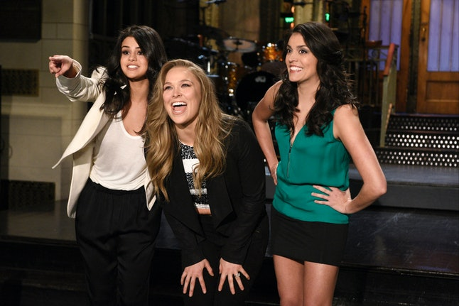 Selena Gomez, Ronda Rousey and Cecily Strong appear on Saturday Night Live