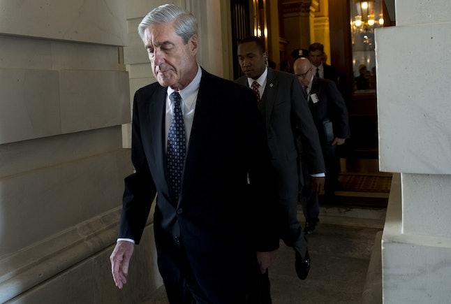 Robert Mueller leaves a meeting with members of the Senate Judiciary Committee in June 2017.