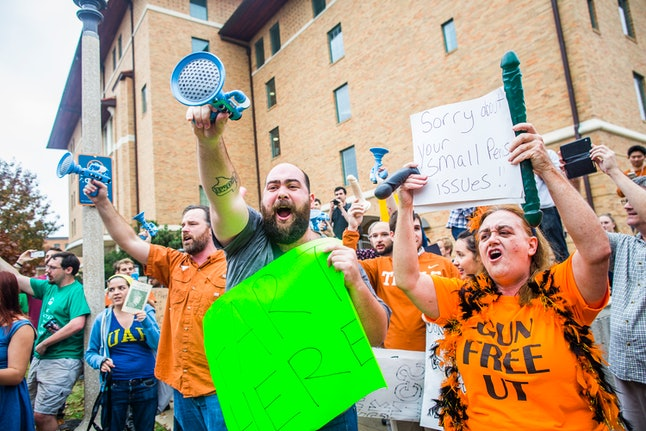 Anti-campus carry protestors and Gun Free UT staged a mock shooting in December.