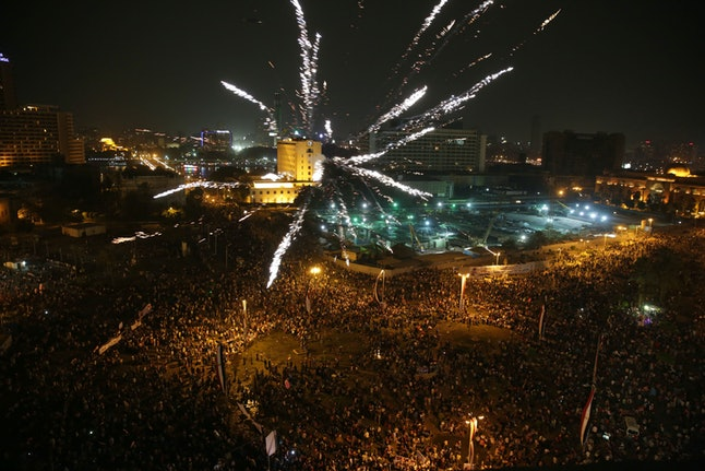 Supporters of Egyptian president Abdel-Fattah el-Sissi celebrated his inauguration in June this year at Tahrir Square.