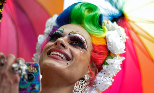 A reveler at the annual Gay Pride parade in Sao Paulo