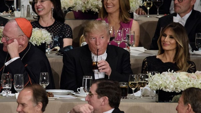 President Donald Trump during the Alfred E. Smith Memorial Foundation Dinner in 2016.