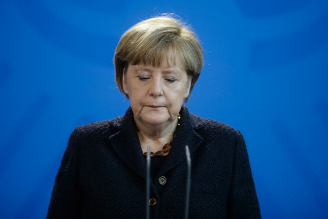 German Chancellor Angela Merkel provides a statement about the French terror attacks