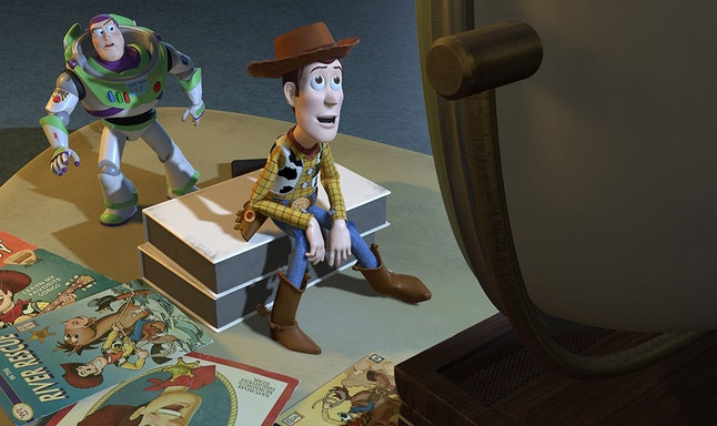 Buzz Lightyear, voiced by Tim Allen, and Woody, voiced by Tom Hanks, in 'Toy Story 2'