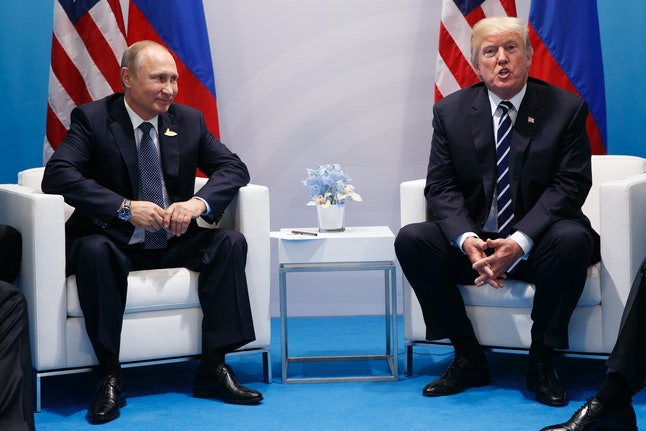 President Donald Trump speaking during a meeting with Russian President Vladimir Putin at the G20 Summit in Hamburg.