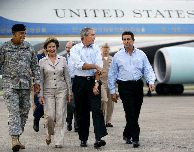 President George W. Bush and Laura Bush arriving in New Orleans for yet another visit, six weeks after Katrina hit