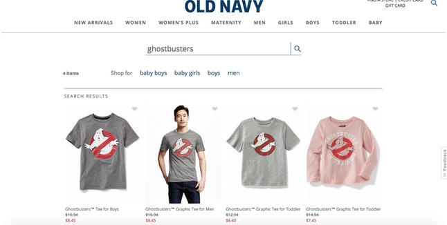 An Old Navy search for 'Ghostbusters'