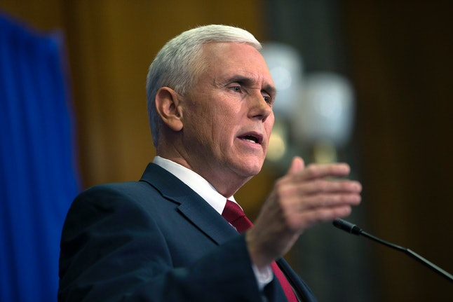 Pence speaks during a press conference March 31, 2015 at the Indiana State Library about the state's controversial Religious Freedom Restoration Act.