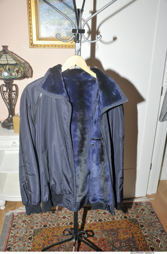 A photo released by the Department of Justice shows an expensive jacket owned by Paul Manafort, whose lavish lifestyle has been on display as his trial began in Virginia this week.