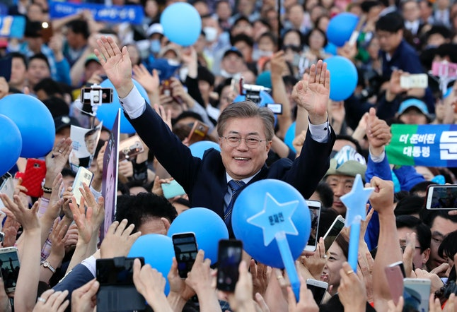 Moon Jae-in attends a campaign event in Gwangju, South Korea, on May 7.